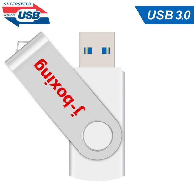 J الملاكمة الأبيض 16GB USB 3.0 فلاش حملة القلم محرك 32GB 64GB المعادن الدورية ذاكرة فلاش عصا usb3.0 عصا للكمبيوتر ماك بوك اللوحي