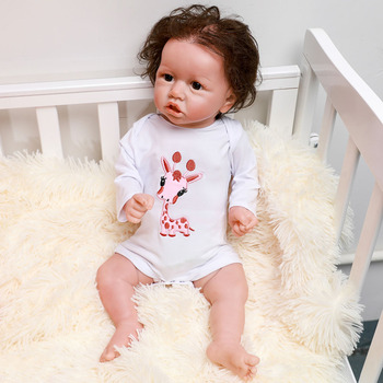 Lifelike Reborn Baby Doll With Blue Eyes 55CM Newborn Babies Dolls Crooked Mouth Curls Handmade Bonecas Toy For Kids Xmas Gifts
