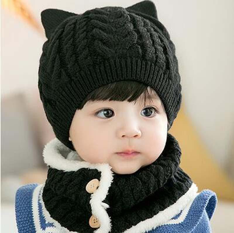 2pcs/set Baby Hat Scarf Set Cartoon Winter Autumn Warm Knitted Infant Caps Bonnet Boys Girls Caps Crochet Beanie Head Warmer
