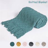 Cobertor com borlas e mantas de malha quentes, camas de cor sólida para bebê, sofá macio, cobertor para viagem, cochilo de tv 130x150