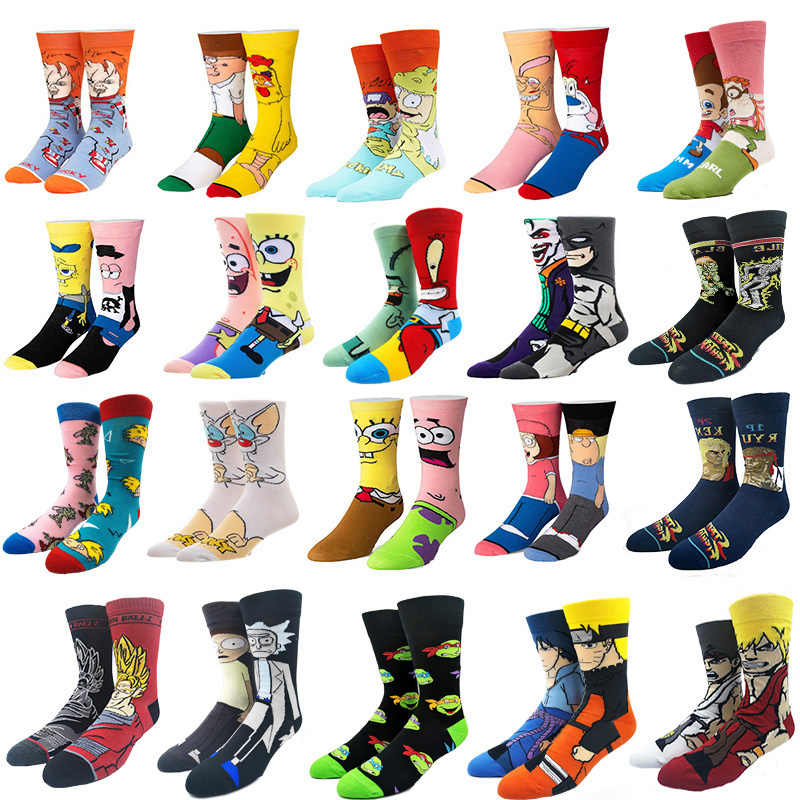 Funny Cartoon Anime Print Socks Patrick Star Fashion Personalized Novelty Men Women Comfort Breathable Pink Yellow Cotton Sock