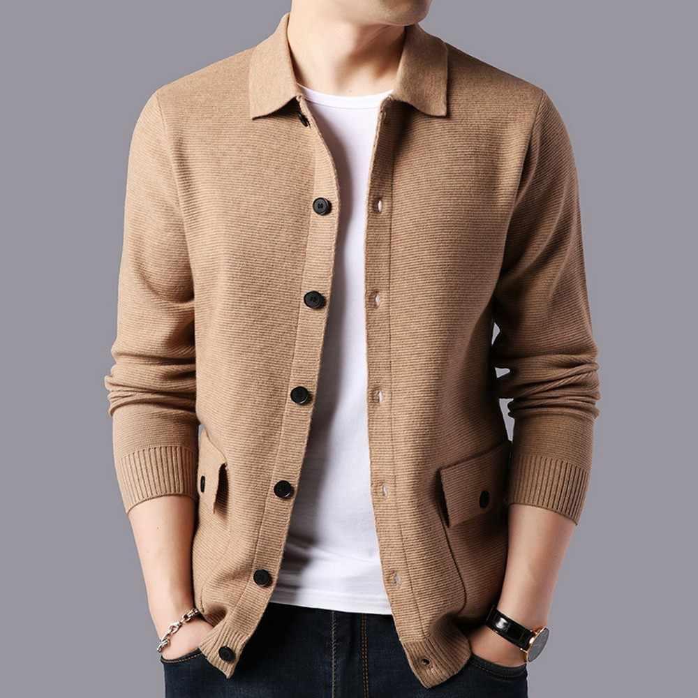 2020 Maglione di Marca Degli Uomini Streetwear Cappotto Del Maglione di Modo Degli Uomini di Autunno Caldi di Inverno Del Cachemire di Lana Cardigan Uomo con Tasca