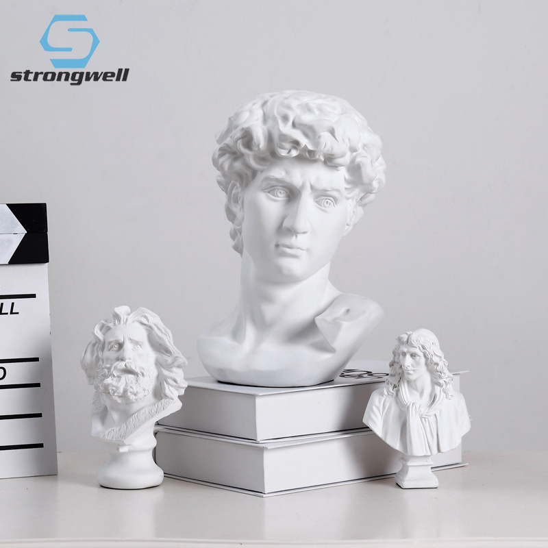 Strongwell Nordic Resin Sketch Head Statue Non-gypsum Bust Mini Classic David Figurines Miniatures Sculpture Ornaments And Gifts