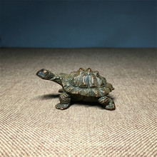 Antique Solid Copper Turtle Ornaments Trumpet Longevity Animal Sculpture Home Office Desk Decorative Ornament Toy Gift