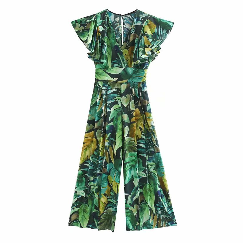 New 2020 Women Tropical Green Leaves Print Wide Leg Pants Siamese Rompers Ladies Butterfly Sleeve Jumpsuits Casual Trousers P812