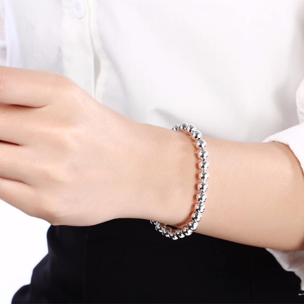 925 silver big bead chain bracelet 4mm 6mm 8mm 10mm bracelet for women fine jewelry for banquet wedding anniversary