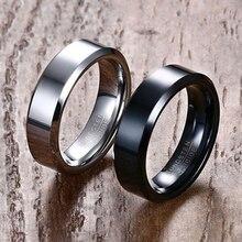 цена Black/Silver Color Men Wedding RingsTextured Tungsten Carbide Engagement Ring for Men Jewelry  Vnox 6mm Wide Rings Free Shipping онлайн в 2017 году