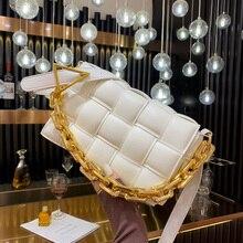 Handbags Chain Crossbody-Bag Bag Designer Plaid-Shoulder-Bag Weave Metal Thick Luxury Women