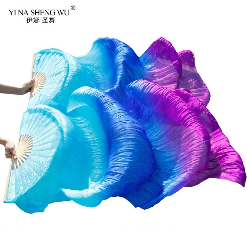 Danza del ventre Velo Ventole 100% Reale/Imitazione di Seta Fan di Bambù Costole Fatto A Mano Tinto Prestazioni Danza Del Ventre Fan di Seta Cinese ventole Nuovo