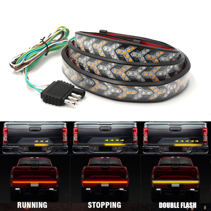 Niscarda  48 60 Inch Truck Tailgate LED Strip Light Bar Triple Row 4-Function With Brake Turn Signal For Jeep Pickup SUV Dodge