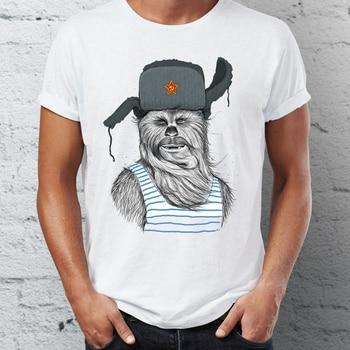 Mens T Shirt Russian Comrade Chewbacca Chewie Star Wars Badass Tshirt Hip Hop Streetwear New Arrival Male Clothes