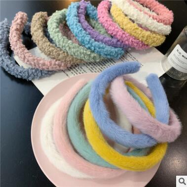 Estilo do Cabelo lã de Cordeiro Lote Faça Você Mesmo Simples Multi Macio Cabeça Bandas Domingo Fio Angora Hairbands Ferramentas Acessório Ha1718 50 Pçs –