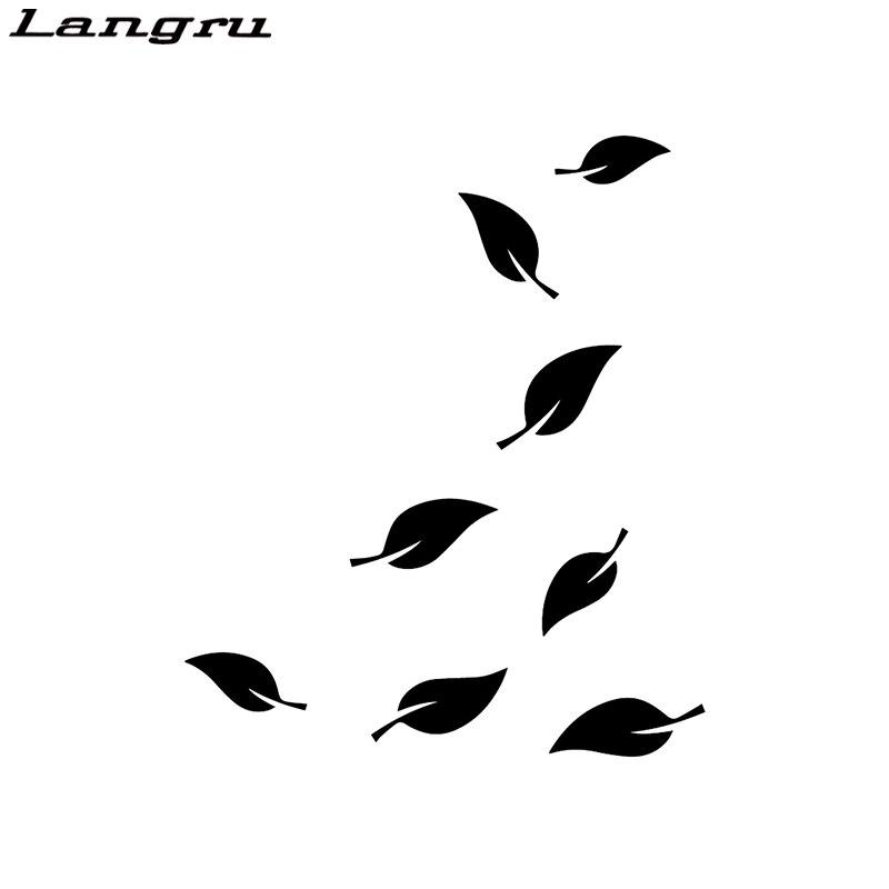 Langru 15.5X18.5CM automne chute feuilles porte corps entier décoration décalcomanies voiture autocollant accessoires Jdm