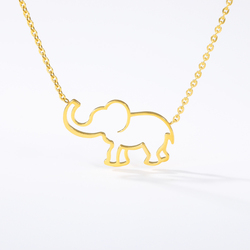 Collier Femme Stainless Steel Gold Chain Origami Elephant Pendant Necklaces For Women Gothic Jewelry Collares De Moda 2019 Kolye