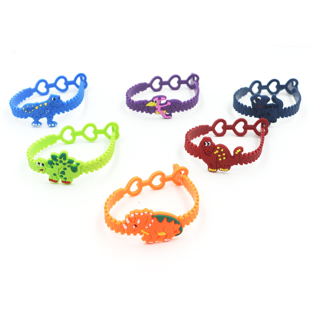 12pcs/set Cute Dinosaur Wristband Adjustable Bracelet Kids Birthday Party Gift Child Rubber Dinosaurs Bracelets