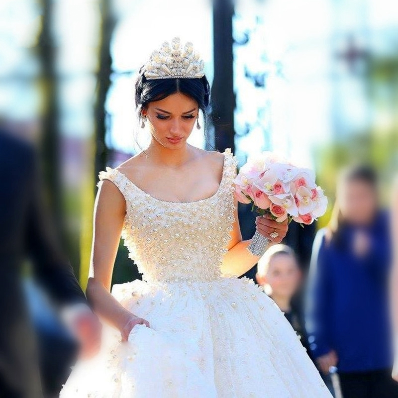 Vestido De Noiva Robe De Mariee Ball Gowns Pearls Tulle Princess Bridal Gown Robe De Mariage 2018 Mother Of The Bride Dresses