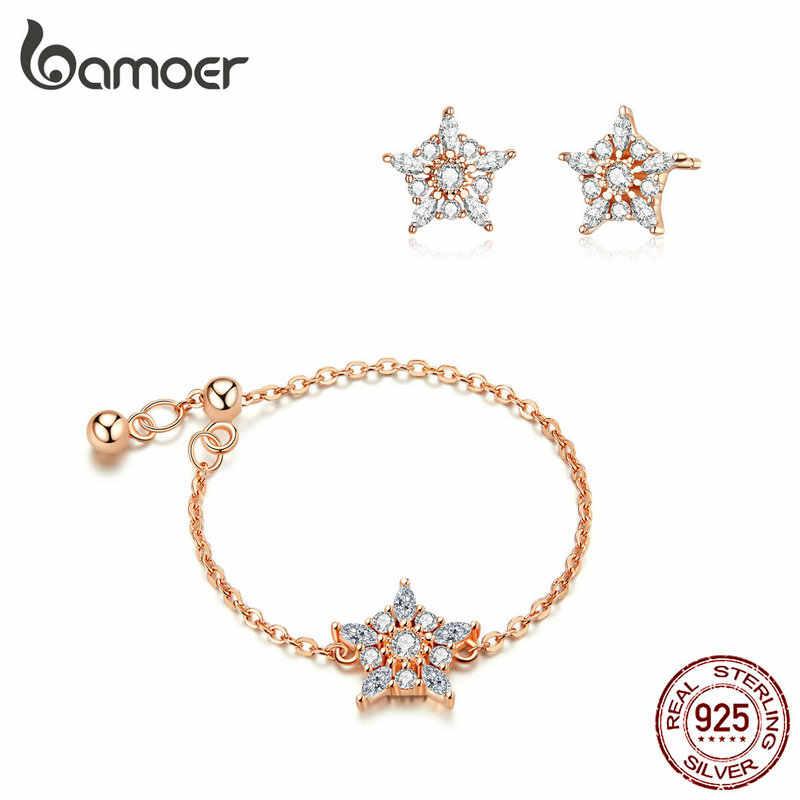 Bamoer 925 bijoux en argent Sterling ensembles de luxe flocon de neige fleur chaîne réglable anneau et boucles d'oreilles femme Fine bijoux GUS167
