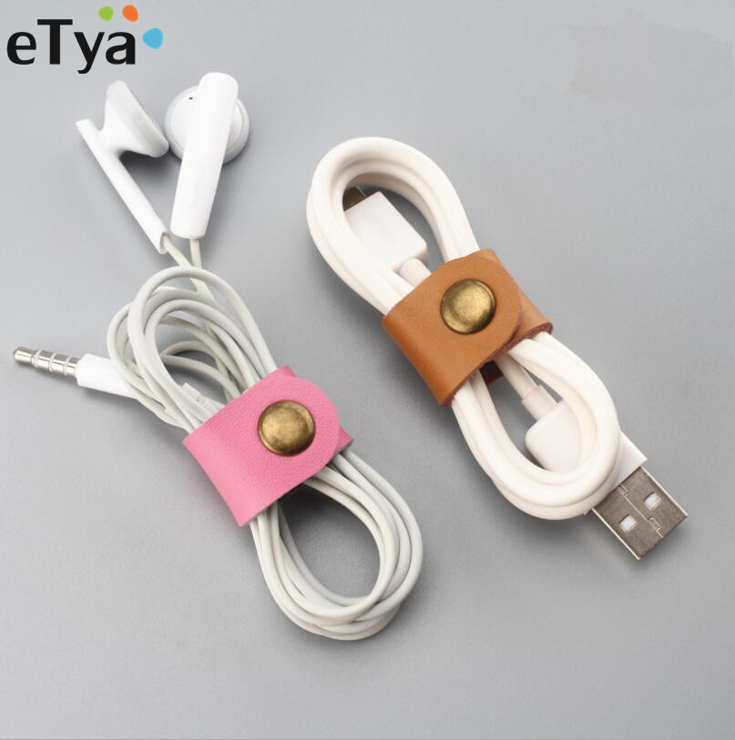 ETya Leather Colorful Earphone Headphone Cable Line Holder Fashion Travel Organizer Packing Accessories