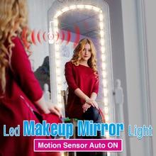 LED Mirror Light Motion Sensor Vanity Backlight Waterproof Decor Bathroom Mirror USB Dimmable Makeup Dressing Table Mirror lamp