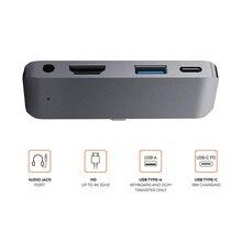 "USB C רכזת מתאם עם USB C סוג C פ""ד טעינה 4K HDMI תואם USB 3.0 3.5mm אוזניות עבור iPad Pro 2018 עבור MacBook Pro"