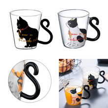Milk Mug with Creative Cute Cat Coffee Korean Stylish Glass Cup Tea Cartoon Kitty Home Office For Fruit Juice