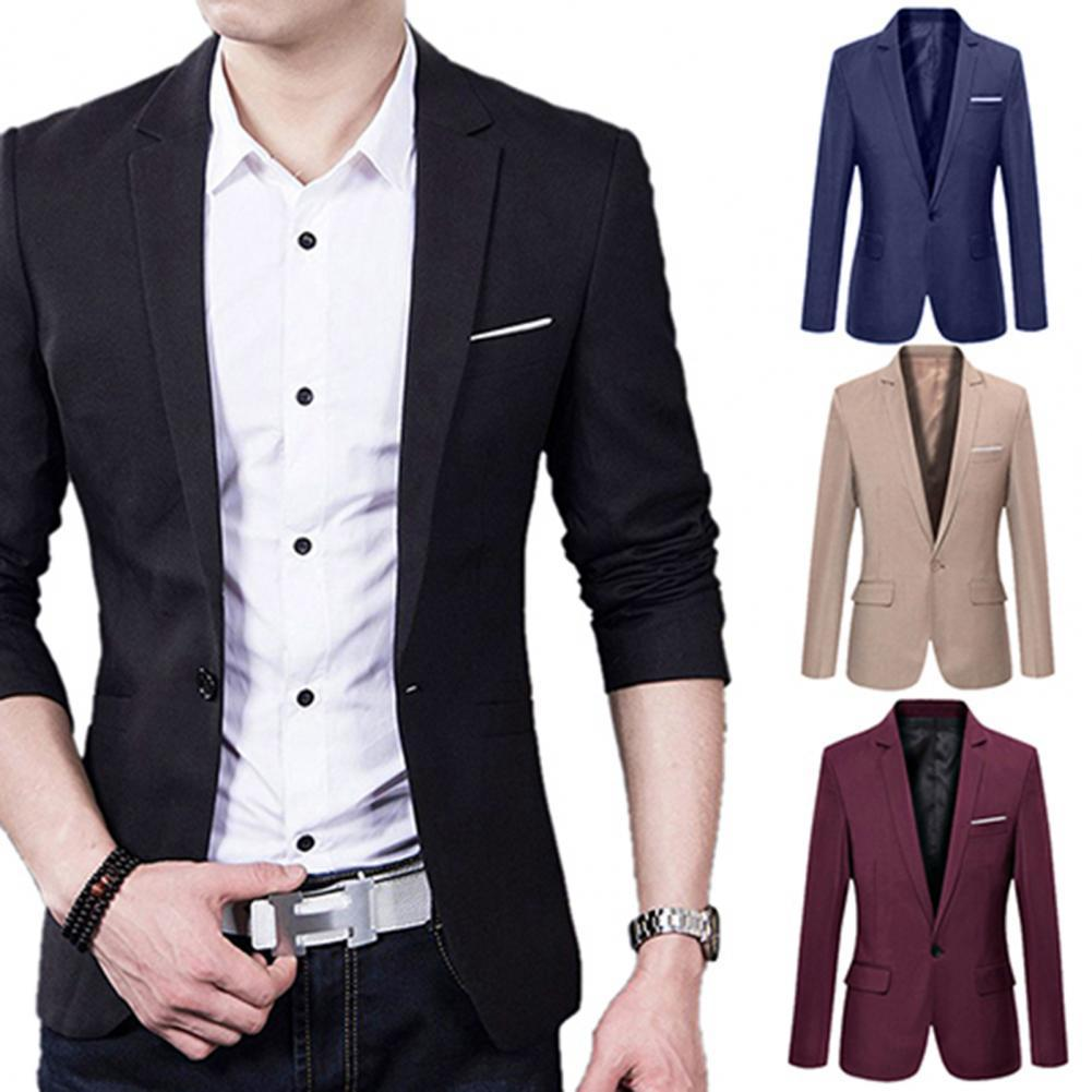 Casual Blazer Men Jackets Solid Color Men Blazers Long Sleeve Single Button Lapel Slim Suit Blazers Men Outwear veste homme