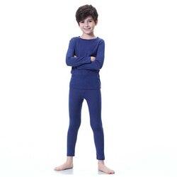 Merino wool kids thermal thicker underwear set long johns boys girls in winter