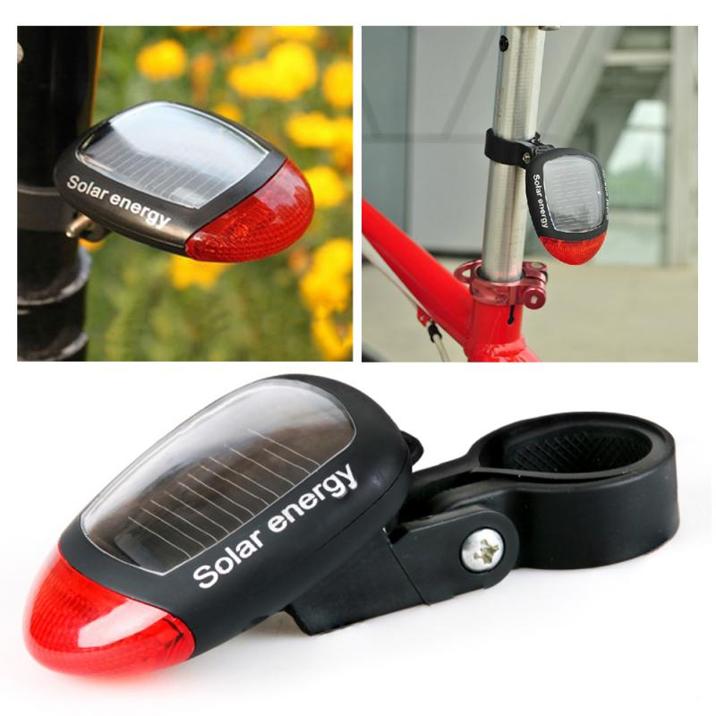 Bike Solar Energy Light Rechargeable LED Seatpost Lamp Bike Back Rear Tail Light Cycling Bicycle Reflector Bicycle Accessories