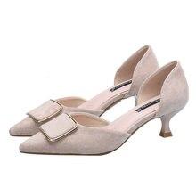 Sapatos de salto 5 cm rebanho apontou toe deslizamento em bombas confortáveis feminino outono deslizamento na boca rasa ol sapatos de escritório CH-B0152