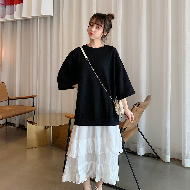 M-4XL grande taille femmes tenue décontractée automne 2019 mode coton lâche sweat Patchwork en mousseline de soie plissée à volants robes du Midi
