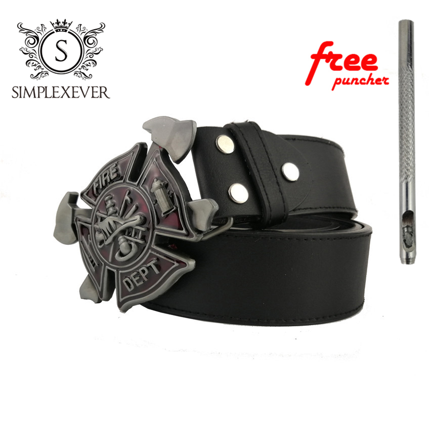 FIRE DEPT Metal Belt Buckle Suitable 3.8-4cm Wide Belt Red Mens Belt Buckle With Belt Jeans Accessories