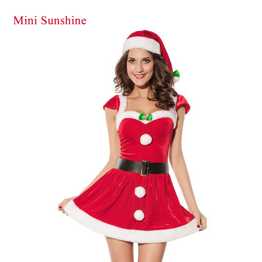 Fashion Adults Women Slim Fit Sexy Christmas Suit Costumes Adult women  Santa Claus Cosplay c Party Fancy Dress z30