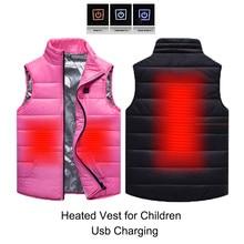 Детский зимний жилет с подогревом и Usb-зарядкой, пальто для мальчиков и девочек, розовая интеллектуальная куртка с электрическим подогревом...
