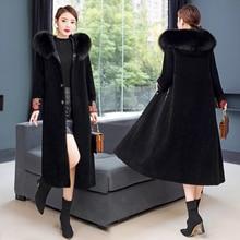 Большой размер, приблизительно 2019, новое осенне зимнее пальто из овечьей шерсти, женское меховое пальто средней длины