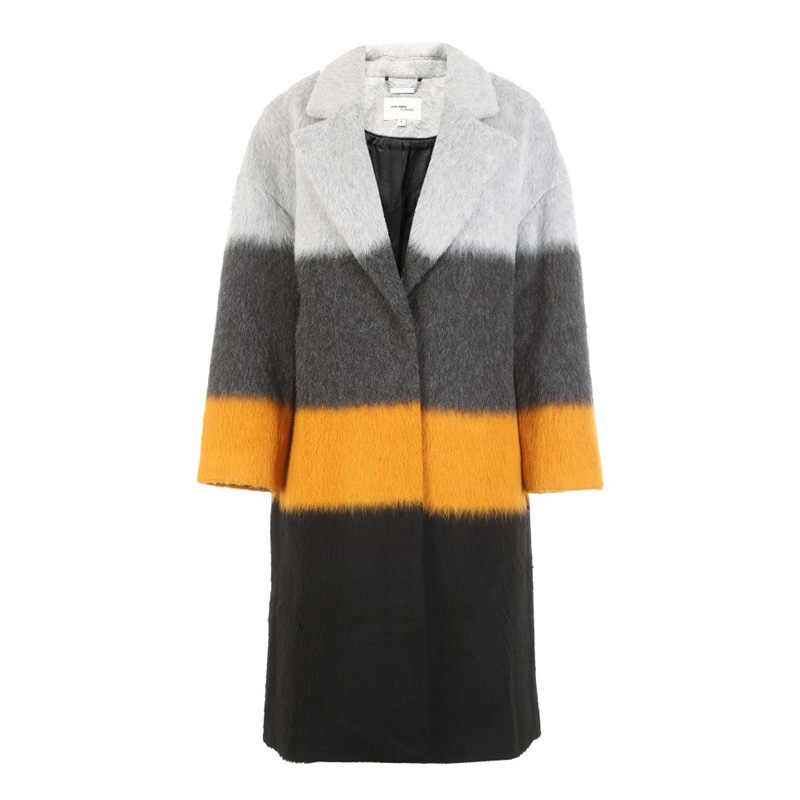Vero Moda Musim Dingin Jahitan Warna Check V Leher Panjang Wol Mantel Jaket   318427513