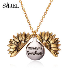 SMJEL Vintage Sunflower Necklaces Letter You Are My Sunshine Open Locket Flower Necklaces Women Gifts Gold Pendant Jewelry bijou