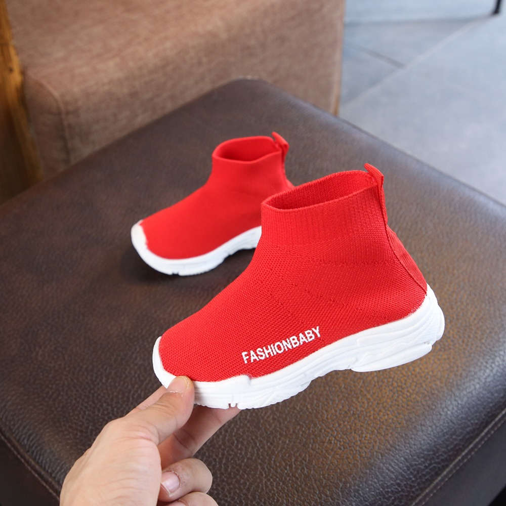 Spring Children Shoes Girls Sneaker For Running Boys Casual Shoes Outdoor Anti-Slippery Fly Knit Kids Socks Shoe Sneaker 1-6Y