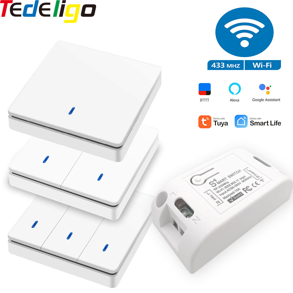 Tuya Wifi Smart life APP push button Smart Light Switch Wireless RF 433Mhz controler DIY Relay Timer Module Google Home Alexa
