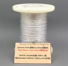 LN005276 Extreme Soft Acrolink เงิน + OCC โลหะผสมสัญญาณ AFT หูฟังสายหูฟัง 53*0.05 DIA: 0.65 มม.