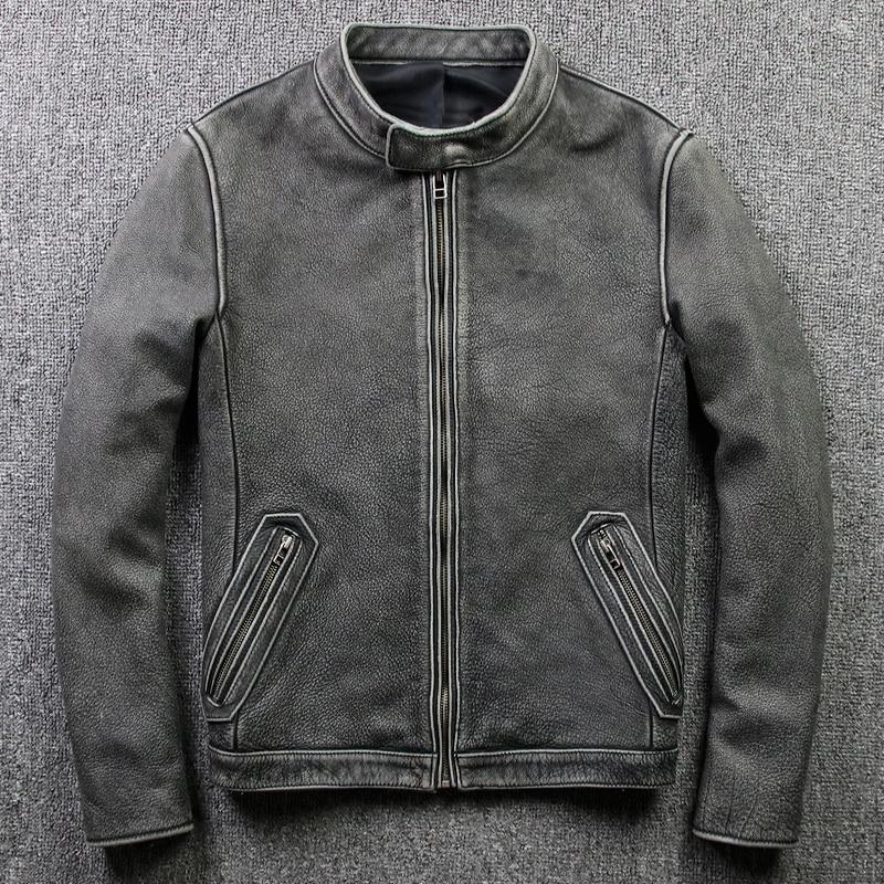 H8e552c55338440598ceca3e9c45e2359e Tcyeek Winter Autumn Genuine Leather Jacket Men Streetweaar Real Sheepskin Coat Man Moto Biker Vintage Cow Leather Jackets 805