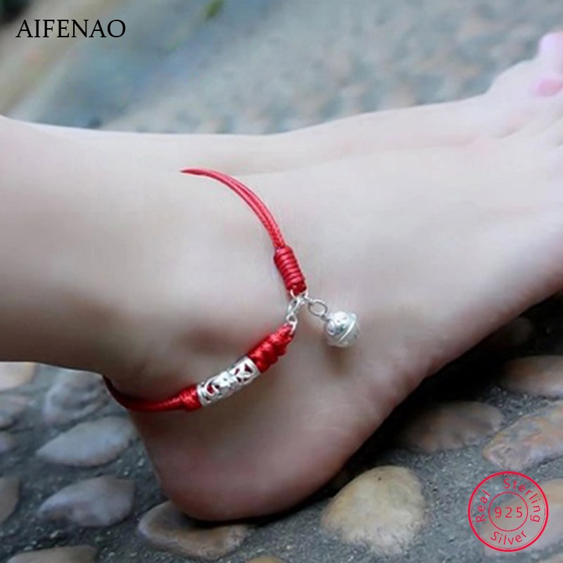 925 Sterling Silver Bell Anklets for Women Charm Handmade Lucky Red Thread Rope Ankle Bracelet Foot Chain Jewelry