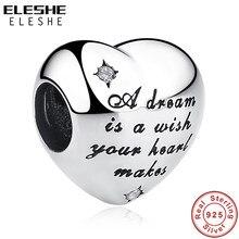 ELESHE noel 925 ayar gümüş boncuk külkedisi dilek rüya aşk kalp boncuk Fit orijinal Charm bilezik DIY takı