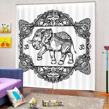 Curtain Decoration 3D Brief Abstract elephant Curtains For Bedroom Living room Polyester Room Curtain