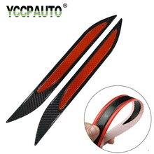 YCCPAUTO 2 sztuk ochraniacz zderzaka paski odblaskowe karoseria z włókna węglowego ostrzeżenie o bezpieczeństwie naklejki Auto Anti-scratch Tape