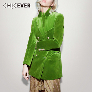 Image 1 - CHICEVER Elegant Womens Blazer Notched Long Sleeve Double Breasted Pocket Large Size Female Suits Autumn Fashion New 2020