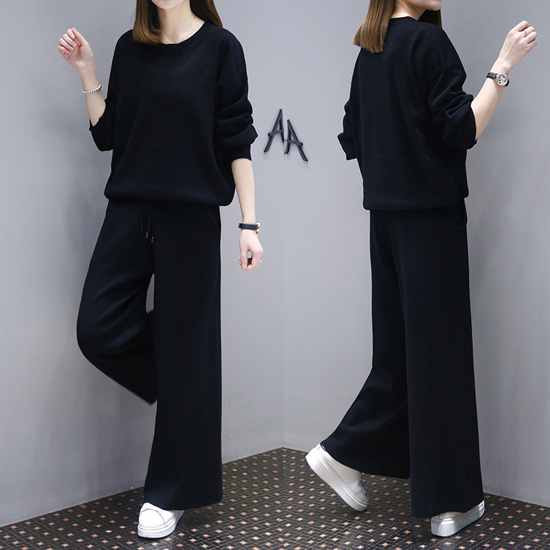 European Goods Ozhouzhan Slimming Spring New Style Women's Solid Color Crew Neck Loose Pants Fashion Set Two-Piece Set