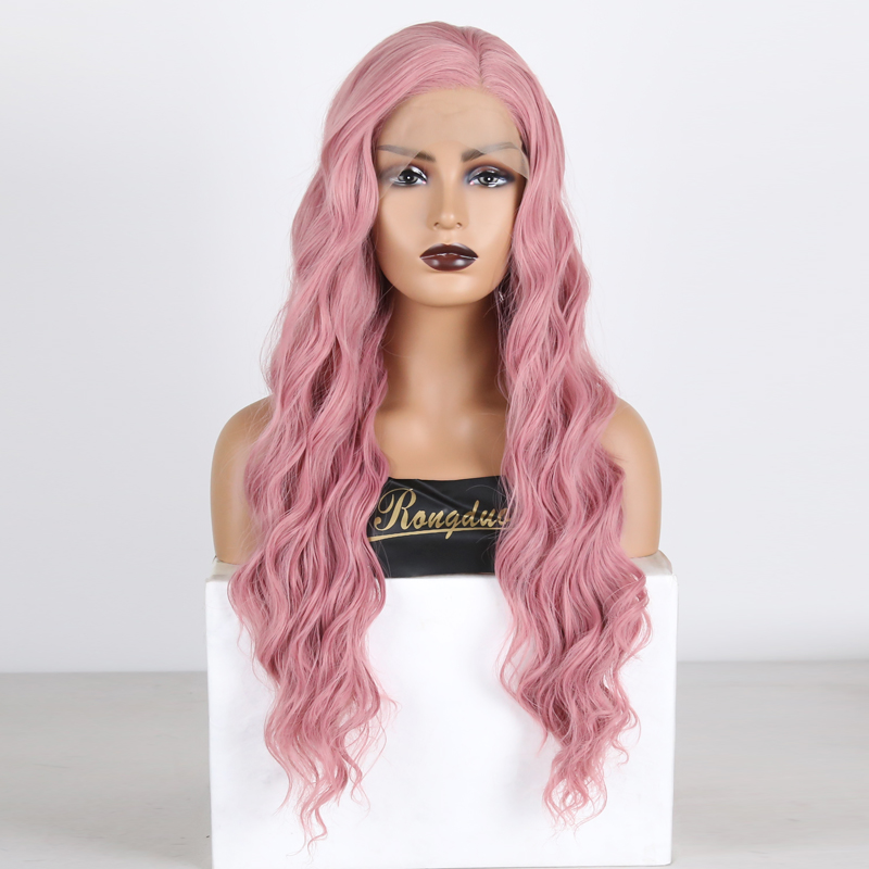 RONGDUOYI Body Wave Synthetic Lace Front Wigs for Women Long Pink Wig Heat Resistant Fiber Glueless Cosplay Wigs with Side Part