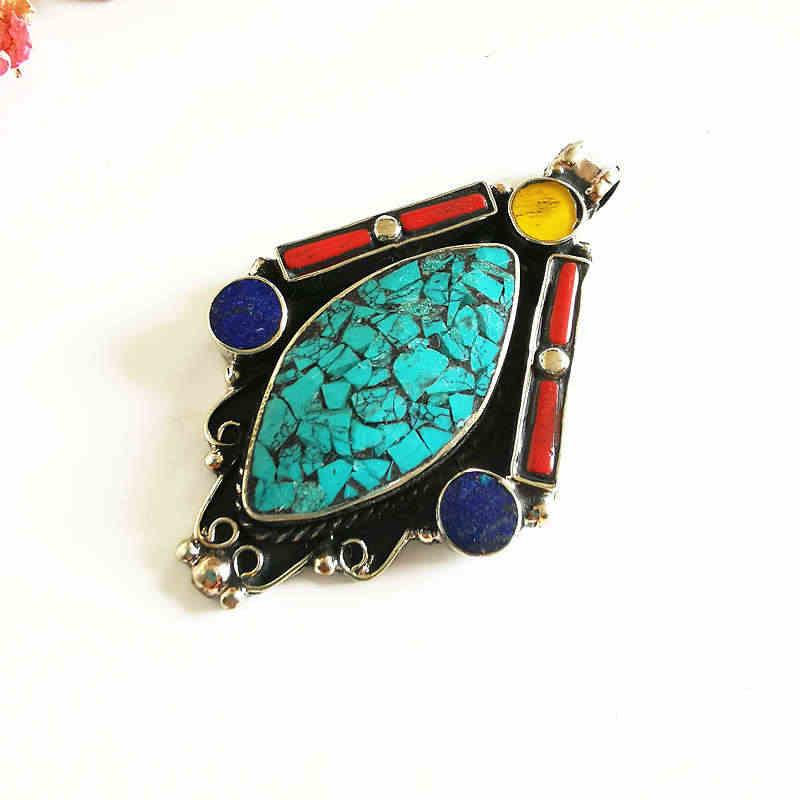 Tibetischen Schmuck Kupfer Inlay Bunte Stein Big Anhänger Tibet Handwerk Sammlungen für Halskette TBP536