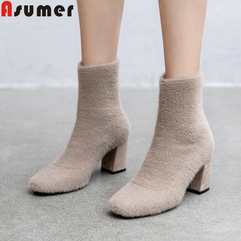 ASUMER Ankle-Boots Square High-Heels Women Knitted New for Toe-Slip on Wool Simple Ladies