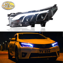 цена на SNCN Car Styling LED Headlight For Toyota Corolla 2014 2015 2016 LED DRL Halogen Turn Signal Head Lamp Lens Assembly Upgrade